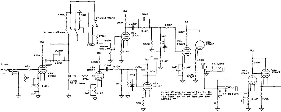 electric guitar schematic